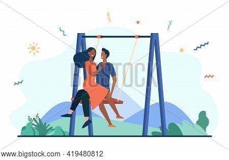 Happy Couple Sitting On Swing. Happy Cartoon Boyfriend And Girlfriend Swinging On Date In Park Flat