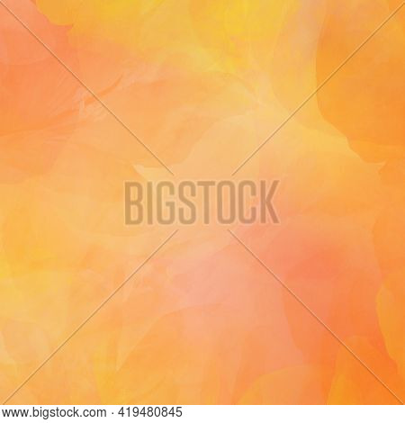 A Beautiful Background In Gentle Shades Of Yellow And Orange Colors, Imitation Of Watercolors, Brigh