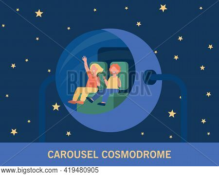 Happy Children Riding Space-themed Attraction. Cartoon Girls In Amusement Park Or Planetarium Flat V