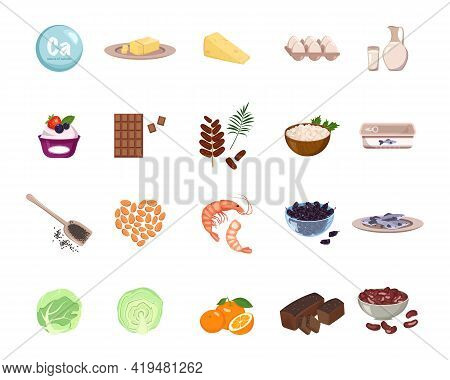 Source Of Calcium. A Set Of Dairy Products, Nuts And Dried Fruits. Natural Organic Food High In Mine