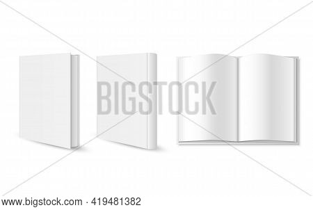 Set Of Blank Book Cover, Booklet, Brochure Template Isolated On White Background. Vector Illustratio