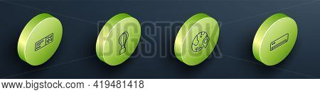Set Isometric Line Airline Ticket, Hot Air Balloon, Location The Globe And Conditioner Icon. Vector