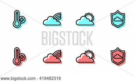 Set Line Sun And Cloud Weather, Meteorology Thermometer, Rainbow With Clouds And Weather Forecast Ic