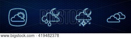 Set Line Cloud With Snow And Sun, Weather Forecast, Rain Moon And Sun Cloud Weather. Glowing Neon Ic