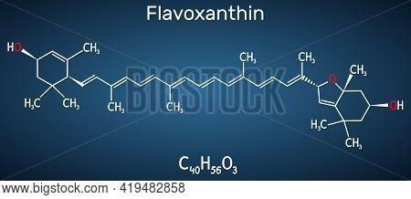 Flavoxanthin Molecule. It Is Xanthophyll Golden-yellow Color Pigment, Food Additive, E161a. Structur