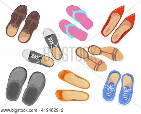 Different Types Of Footwear Vector Illustrations Set. Collection Of Sport And Business Shoes, Sneake