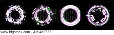 Glitch Circle Frames In Hud. Digital Frames With Neon Light Effect And Effect Decay. Futuristic Circ
