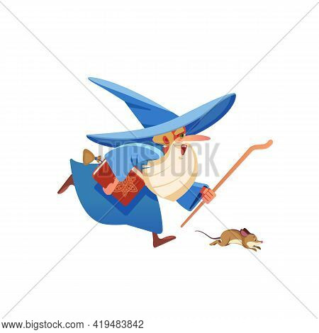 Magician Runs. Wizard. Mysterious Male Magician In Robe Spelling Oldster Merlin Vector Cartoon Chara
