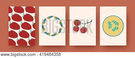 Set Of Contemporary Art Postcards With Fruit, Vegetal Patterns. Vector Illustration. Collection Of N
