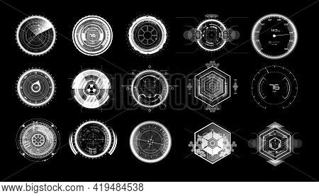 Futuristic Circle Elements In Hud Style. Set Digital Circular Elements - Military Crosshair, Futuris