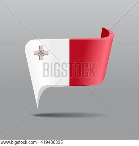 Maltese Flag Map Pointer Layout. Vector Illustration.