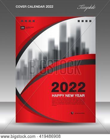Cover Desk Calendar 2022-red Wave Background-3