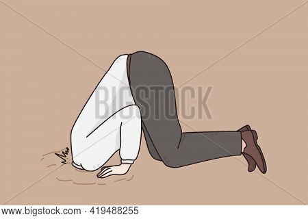 Ignoring Problems In Business Concept. Man Businessman Hiding His Head In Sand Escaping From Problem