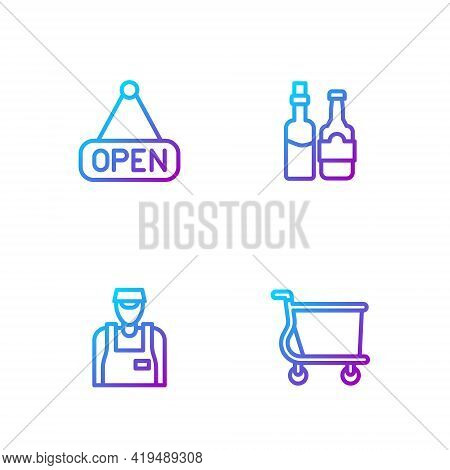 Set Line Shopping Cart, Seller, Hanging Sign With Open And Whiskey Bottle. Gradient Color Icons. Vec