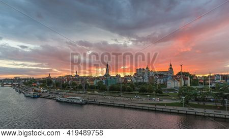 Szczecin, West Pomeranian Voivodeship, Poland - 06 September 2020: Sunset Over The City. Piastowski