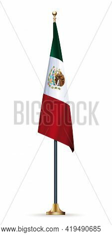 Flag Of Mexico On A Flagpole With A Stand. Mexican Flag Isolated On White Background. Vector Illustr