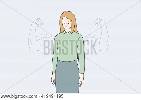 Woman Self Esteem, Confidence, Strength Concept. Young Woman Standing Looking Down With Strong Bicep