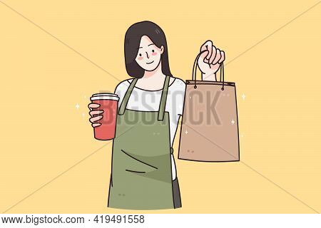 Barista During Work In Cafeteria Concept. Young Smiling Woman Barista Cartoon Character Working At C