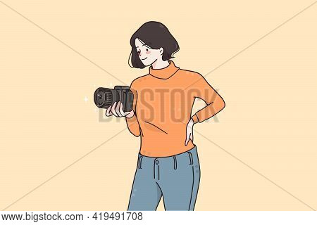 Professional Photographer And Equipment Concept. Young Smiling Woman Photographer Cartoon Character