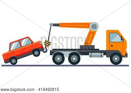 Evacuation Of The Car On A White Background. Flat Vector Illustration.