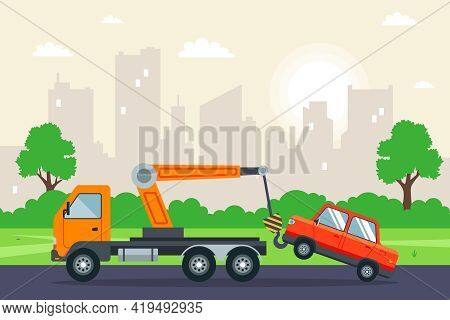 Tow Truck Towing A Car In The City. Flat Vector Illustration.