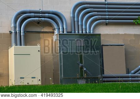Insulated Electrical Wires On The Wall Wires
