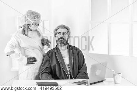 Detection Of Coronavirus. Coronavirus Symptoms. Sick Guy At Home. Self Isolation. Doctor Protective