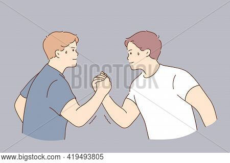 Arms Wrestling, Competition Of Strength Concept. Young Serious Men Cartoon Character Holding Hands C