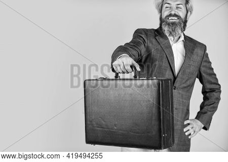 Hipster Bearded Face Hold Briefcase With Bribe. Businessman Run Away Business Case. Happy Smiling Wo