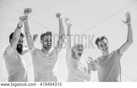 Young And Free. Success And Achievement. Cheerful People Communicating. Networking Concept. Men Woma