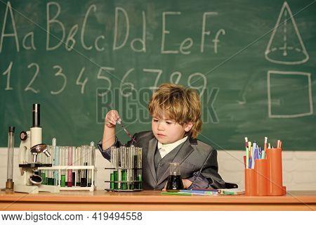 Biotechnology And Pharmacy. Genius Pupil. Education Concept. Boy Test Tubes Liquids Chemistry. Chemi