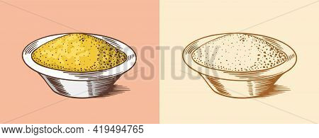 Mustard Or Condiment. Dip Or Dipping Sauce. Illustration For Vintage Background Or Poster. Engraved