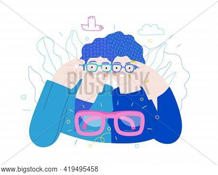 Opticians Shop - Medical Insurance Illustration. Flat Vector