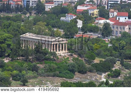 The Ancient Temple Of Hephaestus, A Doric Greek Temple In The North-west Side Of The Agora Of Athens