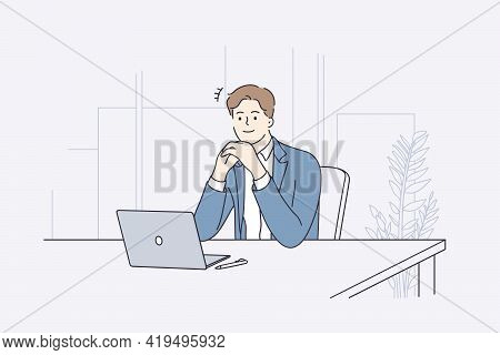 Businessman During Work Planning Concept. Young Positive Businessman Cartoon Character Sitting At De