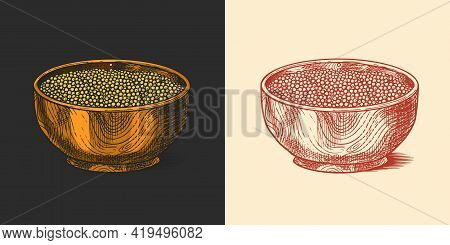 Bowl Of Mustard Seeds Or Condiment. Dip Or Dipping Sauce. Illustration For Vintage Background Or Pos