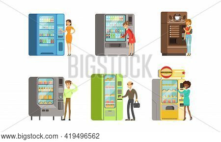 Consumers Standing Near Vending Machine Buying Drinks And Food Vector Set