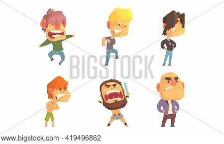Angry And Exasperated Man Character Shouting And Yelling Vector Set