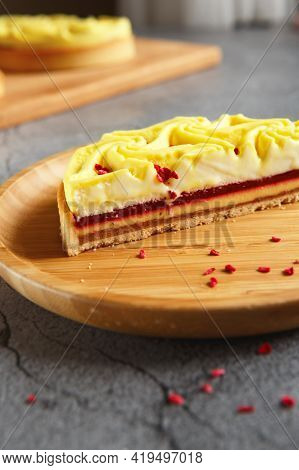 Delicious Yellow Tart. Tasty And Colorful Dessert - Lemon Curd Tart Made By Pastry Chef. Cutaway Cak