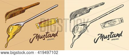 Dripping Mustard Or Hot Condiment. Splashing Liquid. Sauce And Seeds On A Spoon. Illustration For Vi