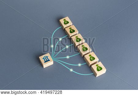 Linked Blocks Bank And Currencies Money Bags. Bank Financial Institution Manages Cash, Deposits And