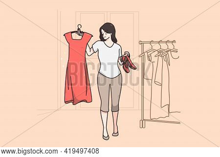 Hard Choice And Fitting Room Concept. Stylish Young Woman Cartoon Character Smiling Holding Red Dres