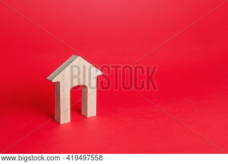 Wooden Figurine Of A Residential Building. Minimalism. Affordable Housing. Rent Of Real Estate. Real