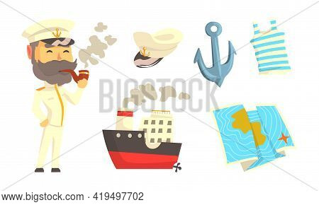 Bearded Sailor Or Seaman Smoking Pipe And Anchor With Striped Vest As Marine Attributes Vector Set