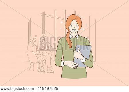 Successful Office Worker Businesswoman Concept. Portrait Of Smiling Young Business Woman Worker Stan