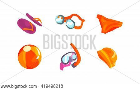 Swimming Equipment With Goggles, Bathing Cap And Snorkeling Mask Vector Set
