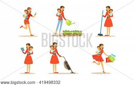 Energetic Female Housewife Holding Baby In Arms Watering Flowers, Vacuuming And Doing Shopping Vecto