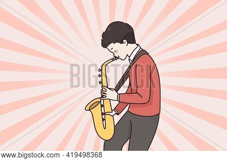 Musician And Playing Saxophone Concept. Small Positive Man Boy Cartoon Character Musician Standing A