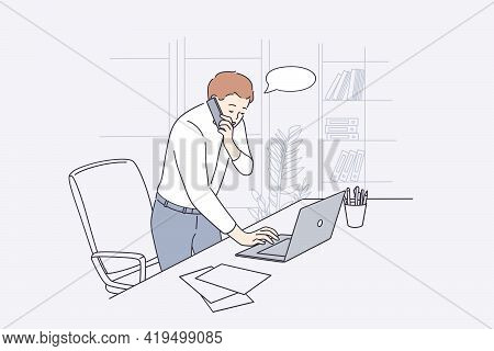 Working In Office, Communication Concept. Young Businessman Office Worker Cartoon Character Standing