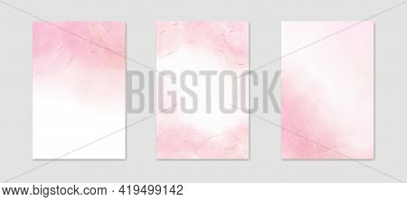 Abstract Rose Pink Liquid Watercolor Background With Golden Lines, Dots And Stains. Pastel Marble Al
